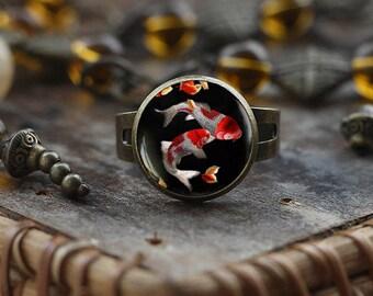 Koi Fish ring, Japanese Koi Fish ring, Japanese art ring, Koi Fish art, Asian Art ring, black ring, Fish Water ring