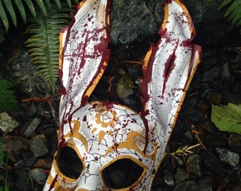 Full broken Leather rabbit mask. BioShock Splicer bunny Mask. Handmade costume by SkinzNhydez steampunk armory