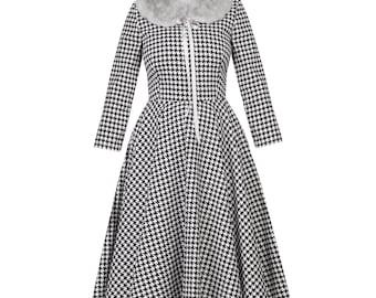 Dogstooth retro dress, swing dress, winter dress