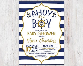 Nautical Baby Shower Invitation, Ahoy Its A Boy ...