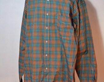 Cacharel Shirt Mens Plaid Button Up Size XL Popeline de Paris