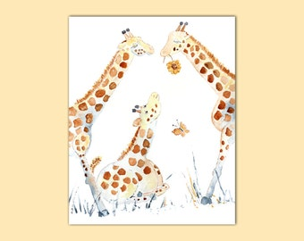 Watercolor Animal, giraffe print, Nursery Print, Safari Nursery Art, Baby Gift, Baby Wall Art, animal painting, jungle nursery, baby print