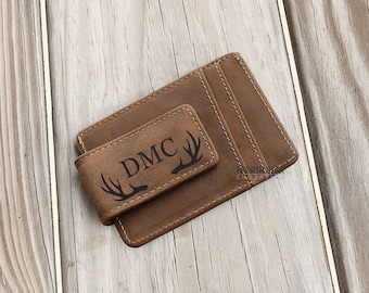 Cowhide Leather Money Clip,Personalized Leather Money Clip Wallet,Leather Money Clip,Personalized Money Clip,Credit Card Wallet,Christmas