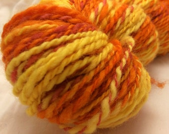 Handspun Wool Yarn, 2-ply, Orange/Yellow/Red, Heavy Worsted, Approx 165 Yards
