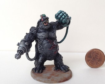 Cyber Enhanced Ape Bodyguard Miniature for Roleplay Games. Expertly prepainted! The perfect sidekick for Horror or Super hero genres!