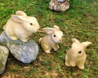 Three Rabbits/Bunnies Fairy Garden Rabbit Figurines Resin Critters