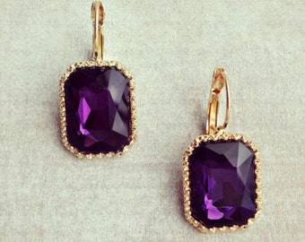 Rectangle purple drops, gold framed earrings, anthropology, amethyst, vintage style, bridesmaids gift, handmade gift idea, gift fir her.