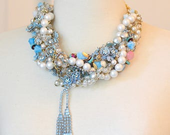 Blue Statement Necklace, Something Blue Bridal Necklace Chunky Vintage Statement Necklace Pearl Rhinestone Wedding Necklace