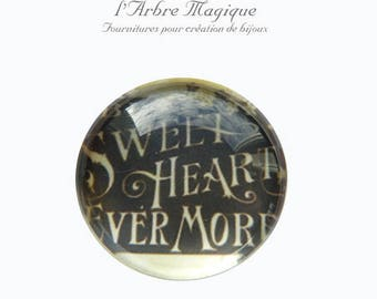 2 cabochons craft love heart message glass 16 mm - N278