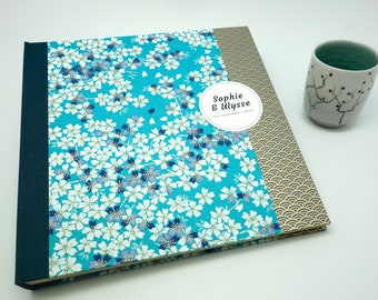 Photo album wedding, baby blue sakura Japanese paper - guestbook - japanese paper, guest book, wedding book, romantic