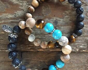Lava stone aromatherapy bracelet - Peace Set