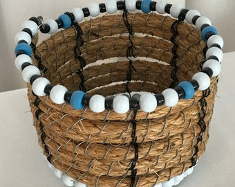 Metal, Rope & Wood Bead Basket
