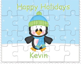 Penguin Boy Personalized Puzzle, Personalized Penguin Puzzle, Personalized Kids Puzzle