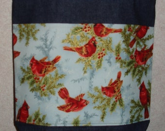 New Large Handmade Cardinals Holly Winter Christmas Denim Tote Bag