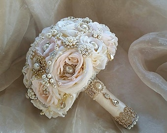 Rose Gold Bouquet, Brooch Bouquet,  Blush Ivory Gold and Rose Gold Bouquet, Gold Wedding Bouquet, Gold Jeweled Bouquet, DEPOSIT