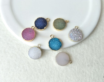5 pcs 12mm Natural Druzy Round pendant Gold Plated Rainbow Agate Druzy Geode Charm Druzy Charm Gemstone Pendant Drusy Geode PD497