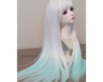 BJD handmade gradient/ ombre color long straight wig white & turquoise