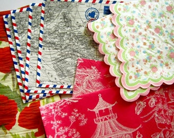 Grab bag of decorative napkins for collage and decoupage. Mixed media collage. Set of 20.