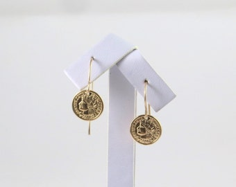 Coin earrings, Gold coin piercing, gold disc piercing, gold coin earrings, Roman coin, ancient, biblical,silver coin earrings , silver disc