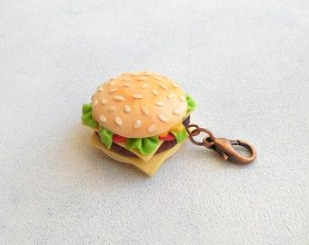 Fast food jewelry Hamburger Food charms Burger pendant Cheeseburger Charm keychain Burger accessory Fake food gift Bag charm Bakery jewelry