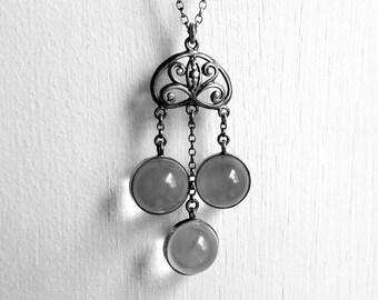 Pendants vintage etsy uk antique art nouveau pools of light rock crystal orb pendant necklace in silver ideal bridal aloadofball Images