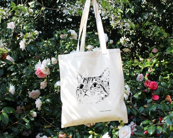 Cat Tote Bag Cotton Tote Bag Cat Bag Screen Printed Cat Cat Accessories Cat Lover Cat Gifts