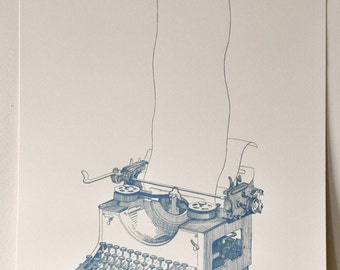 Vintage Typewriter Drawing - Limited Edition Letterpress Print of 75