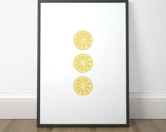 Modern Kitchen Art Print, Printable Kitchen Sign, Lemon Print, Kitchen Decor, Colorful Kitchen Art Poster, Instant Download, Digital Print