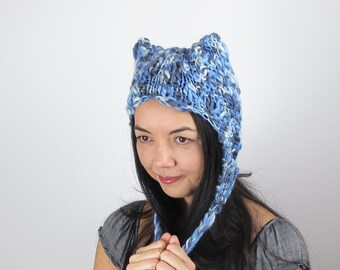 Blue Kitty Hat Cat Hat in Blue and White Hand Knit Wool
