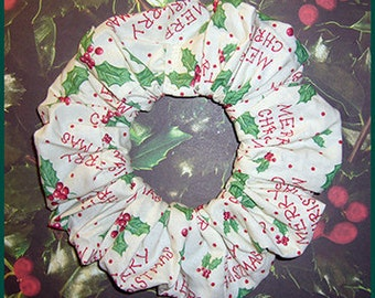 Merry Christmas Hair Scrunchie, Holiday Ponytail Holder, Holly & Polka Dots Hair Tie