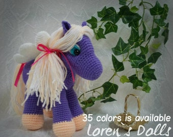 Flying Pony Crochet toy Purple Colour horse Flying horse Crochet horse Pegasus Crochet animal gift for girls Will be made JUST FOR YOU