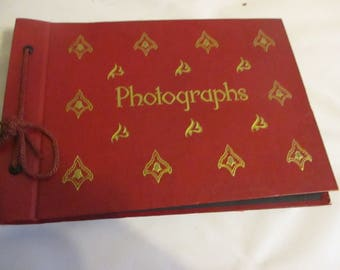 Photo Album Photographs Red and Gold Black Pages