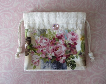 Handmade Rosary  Pouch Cotton Drawstring