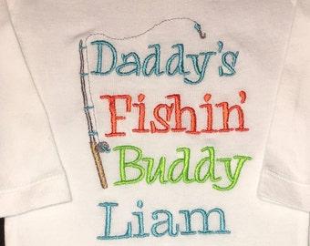 Boy Bodysuit, Boy Fishing Shirt, Baby Fishing Shirts, Daddy's Fishing Buddy Shirt, Baby Fishing Outfit, Baby Boy Fishing Outfit