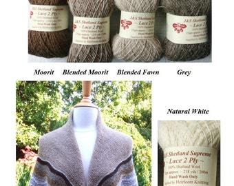 Shetland Supreme 2 ply ~ buy 5, get 6th free! & free shawl pattern download