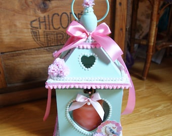 Lantern/candle holder romantic pink and turquoise