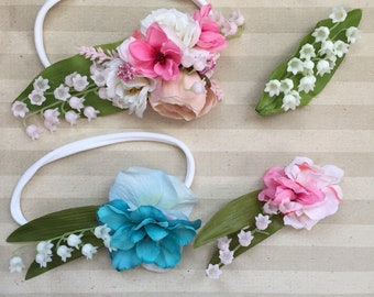 Liky of the Valley floral bouquet hair clip or headband