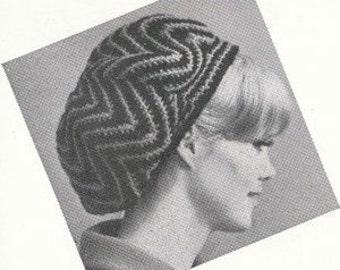 Crochet Ripple Slouch Beret Cap Hat Beanie PDF Pattern