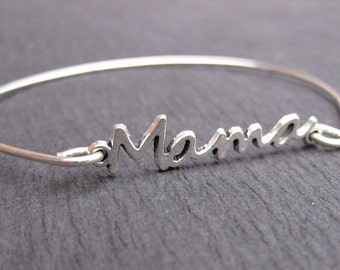 Mama Bracelets, Sterling Silver Mom Bangle Bracelet, Mothers Days Jewelry, Gift for Mom Jewelry, Special Gift, Mama