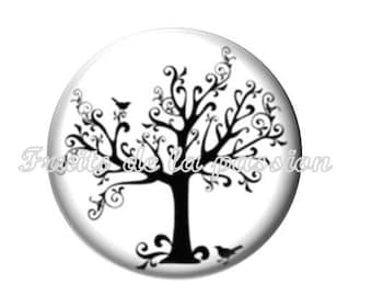 Set of 2 16mm, nature, trees, round glass cabochons