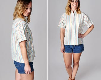 Vintage Striped Button Up Blouse - Casual Summer Weekend Top Shirt Boxy Short Sleeve Stripes Multi Cotton Woven White - Size Medium