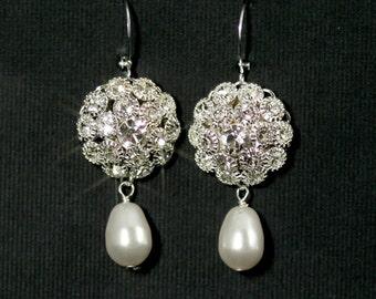 Rhinestone Pearl Bridal Earrings, Old Hollywood Glamour, Vintage Bridal Jewelry, Silver Rhinestone Drop Earrings  -- MARILYN