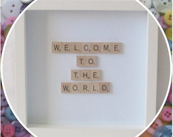 Handmade 'Welcome to the World' New Baby Scrabble Frame