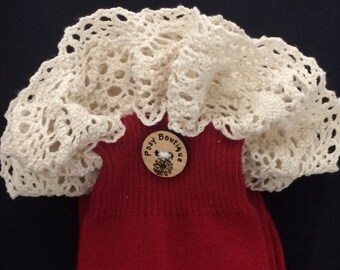 Ivory Crocheted Wide Straight Lace Trim on Dark Red Boot Socks
