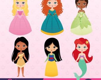 Princess Party Clipart, Instant Download, Princess Graphics.