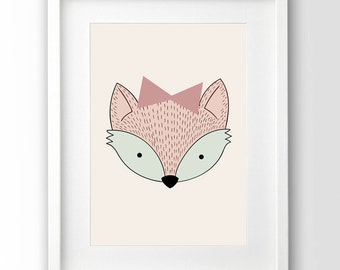 Fox Girl Printable, Pastel Print Kids, Nursery Print, Downloadable Art