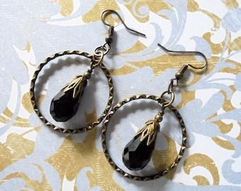 Black Teardrop and Brass Hoop Earrings (3762)
