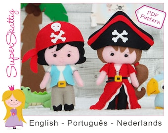 Felt pattern Little pirates, softie pattern pirate girl and boy, pluch pattern doll, sewing pattern by superskattig