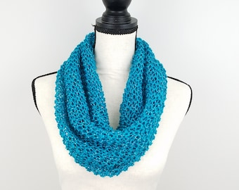 Teal Knit Cowl Lightweight Hand Knit Scarf Warm Weather Fashion Accessory
