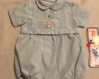 PETIT AMI Embroidered Bears Bubble Outfit. Size 3 months. Original tags attached.